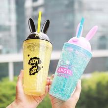 ФОТО 450ML Creative Cartoon My Water Bottle   Plastic Ice Water Bottle Cute Rabbit Design Sports Travel