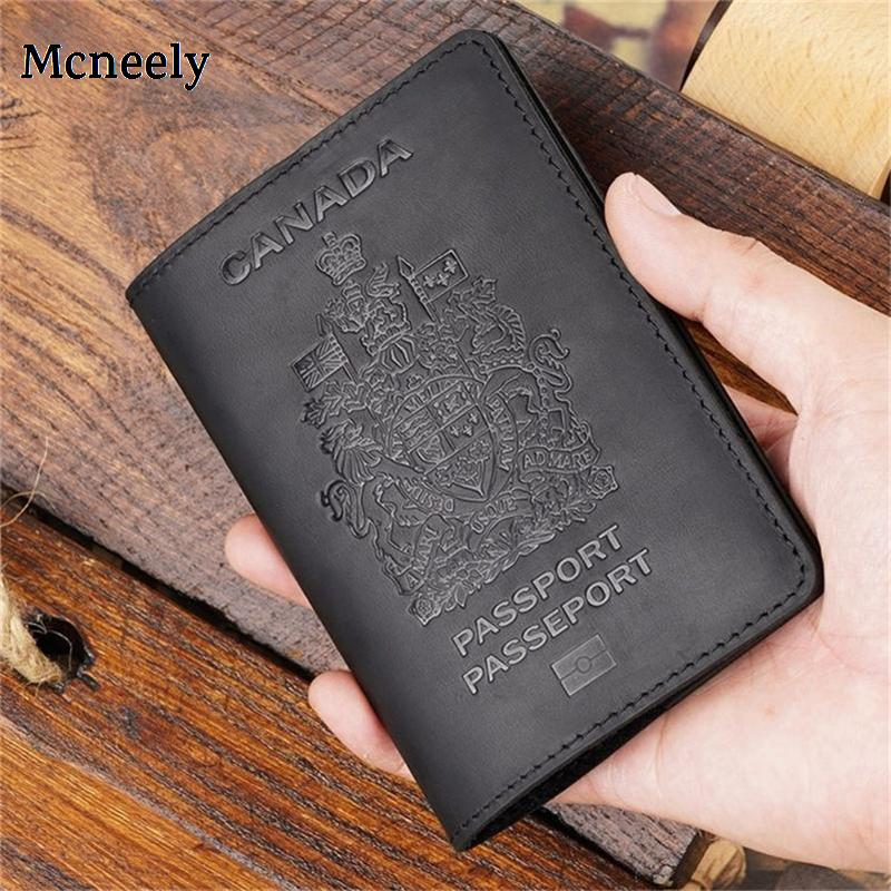 Canada Crazy Horse Leather Passport Cover Solid Passport Holder Business Unisex Genuine Leather Durable Travel Wallet Case