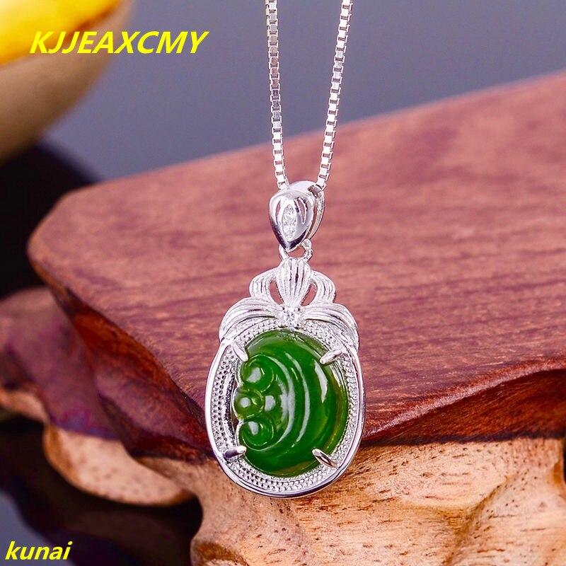 Kjjeaxcmy бутик Jewels Серебро 925 Natural Green Jade ожерелье отправить женский кисточкой НБМ usdf ...