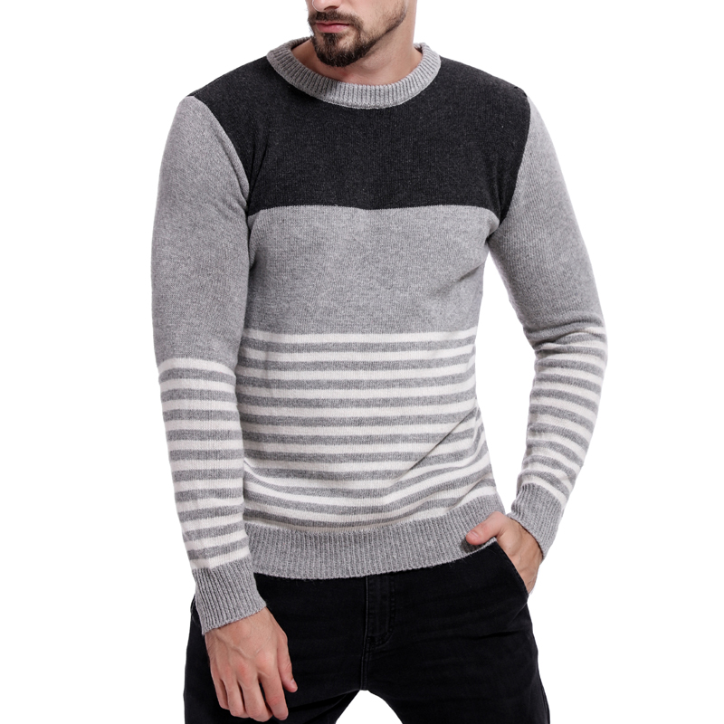 Men's Casual Contrast Sweater Autumn And Winter Loose Striped Pullover Male O-Neck Streetwear M-2XL