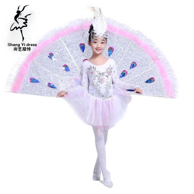 Дай Танцы Павлин Танцы группы спектакли детей Обувь для девочек Танцы одежда Этнические китайские костюмы Костюмы для бальных танцев Одежда для танцев