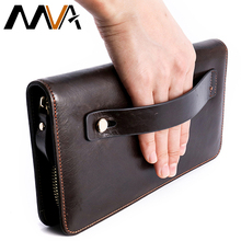 MVA Clutch Male Genuine Leather Wallets with Coin Pocket Man