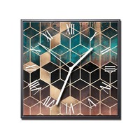 Geometric Cube Wall Clock Frame Posters and Prints Moment Mechanism Modern Design Desk Clocks Art Canvas Painting Decoration