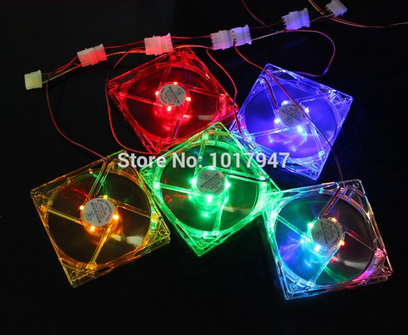 100 Pieces LOT 120mm 120*120x25mm 12025S DC 12V 4Pin GDT 5 Colours LED Case Cooler Cooling Fan