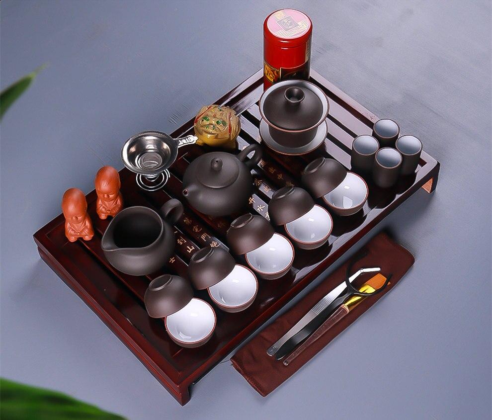 Chinese Kung Fu Tea Set Drinkware Purple Clay ceramic Binglie three options include Tea pot Cup Tureen Infuser TeaTray