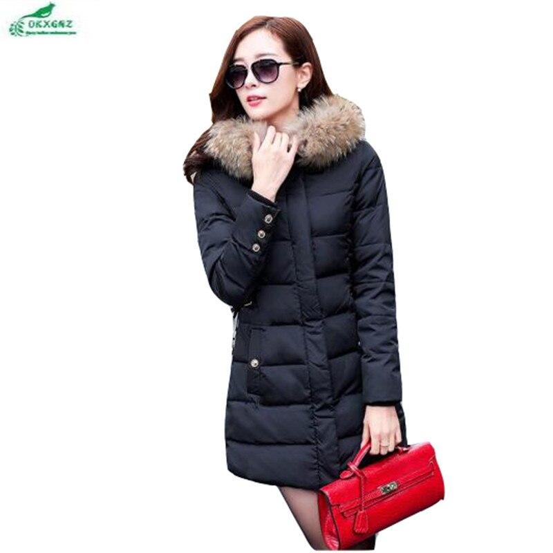 Winter cotton women long section Korean large size Outerwear Hooded collar ladies warm cotton jacket coat tide OKXGNZ QQ927