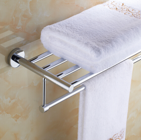 Modern Chrome Fixed Bath Towel Holder Stainless Steel Towel Rack Holder for Hotel or Home Bathroom Storage Rack Rail Shelf high quality oil black fixed bath towel holder brass towel rack holder for hotel or home bathroom storage rack rail shelf