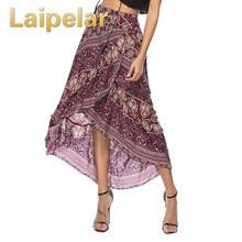 Laipelar Chic Irregular Ruffles Gypsy Boho Skirts Bohemian 2018 Summer New Beach Women Floral Print Elastic Waist Long