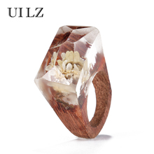 UILZ Fashion Handmade Rings Clear Resin Creative Real White Lotus Jewelry Vintage Red Wooden Ring For Woman Girl BWRP004