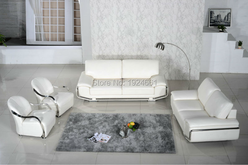 US $2500.0 |2019 New Armchair European Style Set No Sofas For Living Room  Bean Bag Chair Real Leather Modern Design Steel Frame White Sofa -in Living  ...