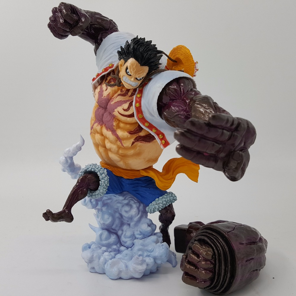One Piece Action Figure Monkey D Luffy Gear 4 PVC 200MM Anime One Piece Luffy Zoro Sanji Figurine Model Toys цена