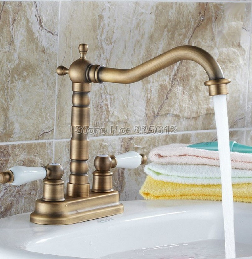 Retro Antique Brass Swivel Spout Kitchen Sink Faucet / Dual Handles Bathroom Basin Mixer tap Deck Mount Two Hole Wnf259 golden brass kitchen faucet dual handles vessel sink mixer tap swivel spout w pure water tap