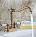 Retro Antique Brass Swivel Spout Kitchen Sink Faucet / Dual Handles Bathroom Basin Mixer tap Deck Mount Two Hole Wnf259