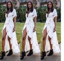 2017 Summer Sexy Women Chiffon Long Dress Short Sleeve Party Evening Beach Floral Print Maxi Dress