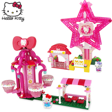 Hello Kitty Pretend Play Set Pink Assemble Lovely hellokitty Assembled Building Blocks Imagination Learning Toys Children Gift bedding set children s virginia secret hello kitty pink with покрывалом
