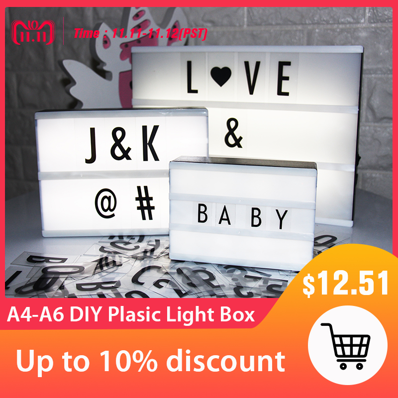 Led Letter Lamp A6 A5 A4 Size DIY Plastic Light Box With 85 Letters Plasic Lightbox Led Marquee Sign Table Decoration Lighting xmas letters led marquee sign light up vintage plastic neon light indoor deration free shipping