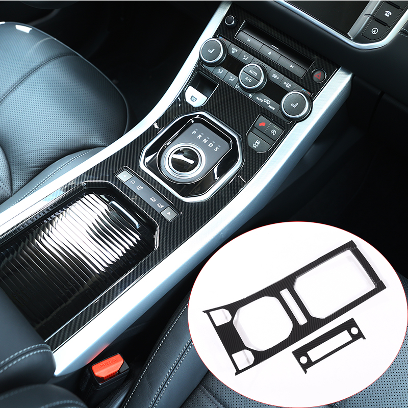 Carbon Fiber ABS Plastic For Land Rover Range Rover Evoque 12-17 Center Console Gear Panel Decorative Cover Trim Newest newest for land rover discovery 4 lr4 accessories abs dark wood grain center console ac vent cover trim stickers for lhd