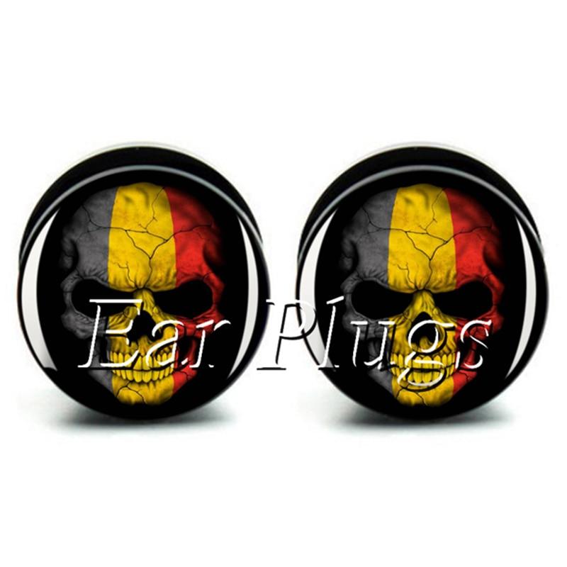 Wholesale 60pcs Belgian skull plug gauge acrylic screw ear plug flesh tunnel body piercing jewelry mix size 6mm-25mm A0478