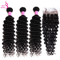 Real Beauty Human Hair Bundles With Closure Deep Wave Brazilian Hair Weave Bundles Remy Hair 3 And 4 Bundles With Lace Closure
