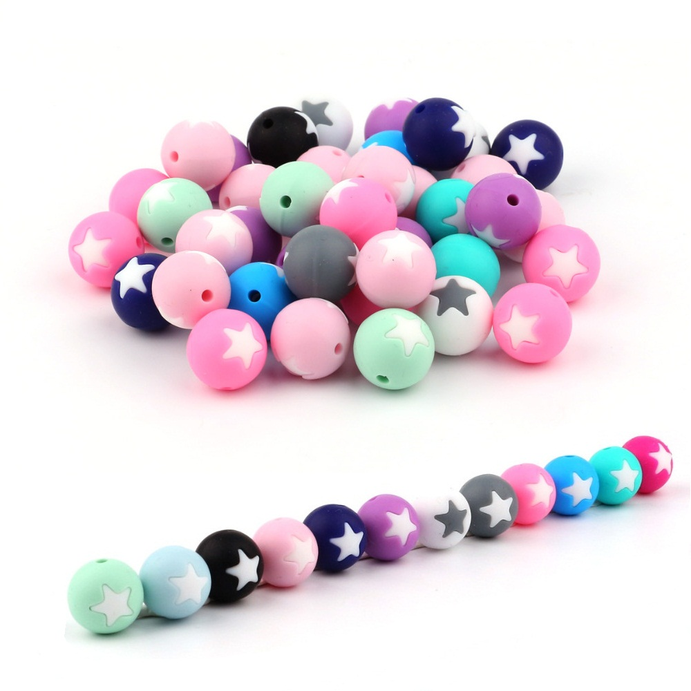 TYRY.HU 10Pcs/Lot Star Silicone Beads Silicone Teething Beads Baby Teether Pacifier Chain  DIY Necklace  Loose Beads BPA Free