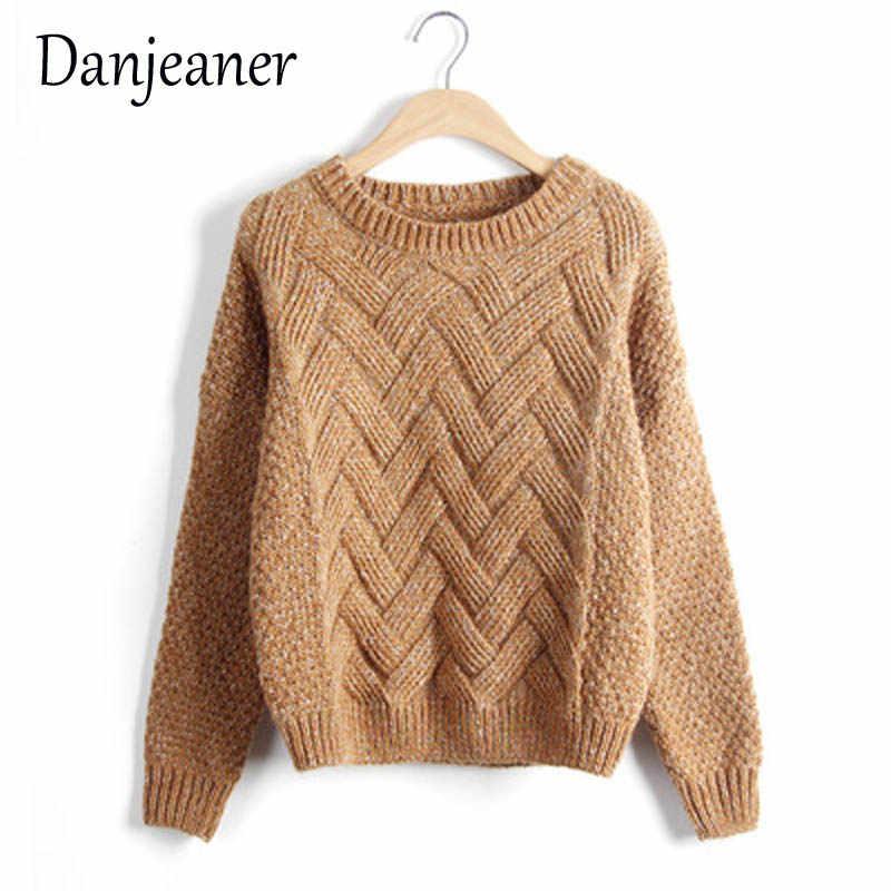 Danjeer 2018 suéter de mujer Vintage nueva moda cuello redondo Jersey de punto de invierno tapas básicas sueltas prendas de vestir exteriores de mujer Abrigos