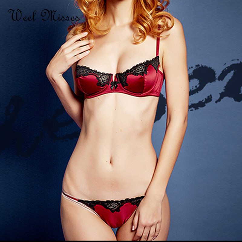 New Arrival Luxury Brand 2017 Underwear Women Push Up Silk Embroidery Sexy VS Bra Set Smooth Comfortable Big Cup Brief Sets