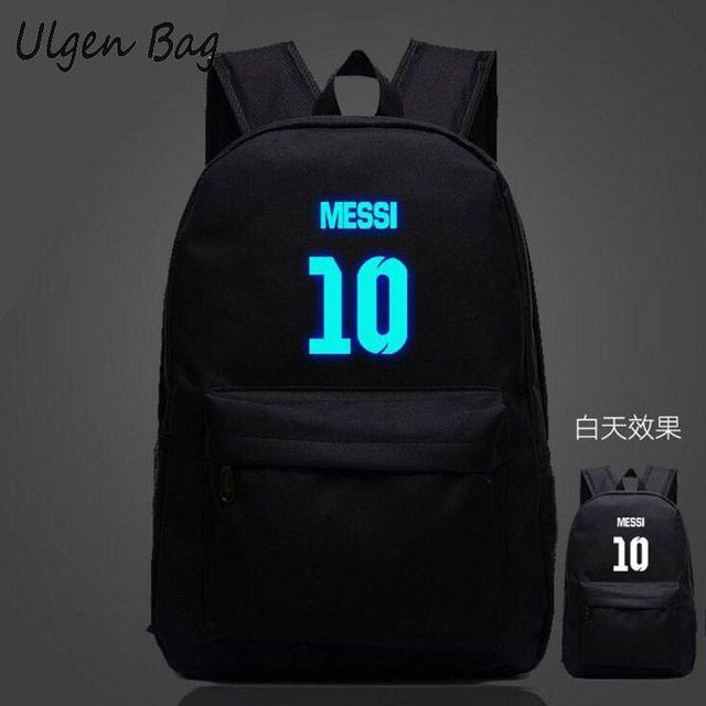 b0aedb4a59 Messi 10  Logo Teenagers School Backpacks for boys Night-luminous Barcelona  travel bags School