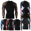 Fasion Mens Ropa Camisas para Hombre Culturismo Base de Capas Medias MMA Durable Impresiones 3D Activa Camisa de Compresión Crossfit