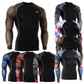 Fasion Mens Shirts for Male Bodybuilding Base Layers Tights MMA Durable Clothing 3D Prints Active Crossfit Compression Shirt