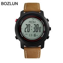 Bozlun Digital-reloj de Lujo de la Marca 2016 de Los Hombres Militar Deportes moda casual Relojes correa de cuero Relojes relogio masculino