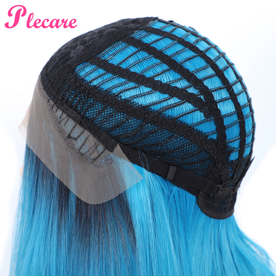 Plecare Ombre Synthetic Lace Front Wig Straight Hair 14 Inches Pruiken For Black Women Wig Blue Synthetic Beauty Forever Wig in Synthetic None Lace Wigs from Hair Extensions Wigs