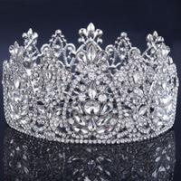 2017 New Crystal Bridal Tiara Wedding Hair Accessories rhinestone crown Round Symmetric Tiara Crown Wedding Pageant