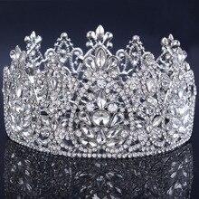 2017 nuevos accesorios para el cabello de boda Tiara nupcial de cristal corona de diamantes de imitación corona redonda simétrica Tiara corona Concurso de boda