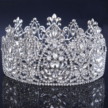 New Crystal Bridal Tiara Bijoux Rhinestone crown Round Symmetric Tiara Crown Wedding hair accessories for women 2020