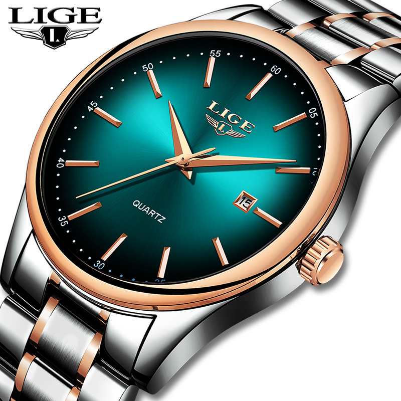 <font><b>LIGE</b></font> Men's Watches Military Luxury Brand Watch Mens Quartz Stainless Steel Clock Fashion Chronograph Watch Man Relogio Masculino image