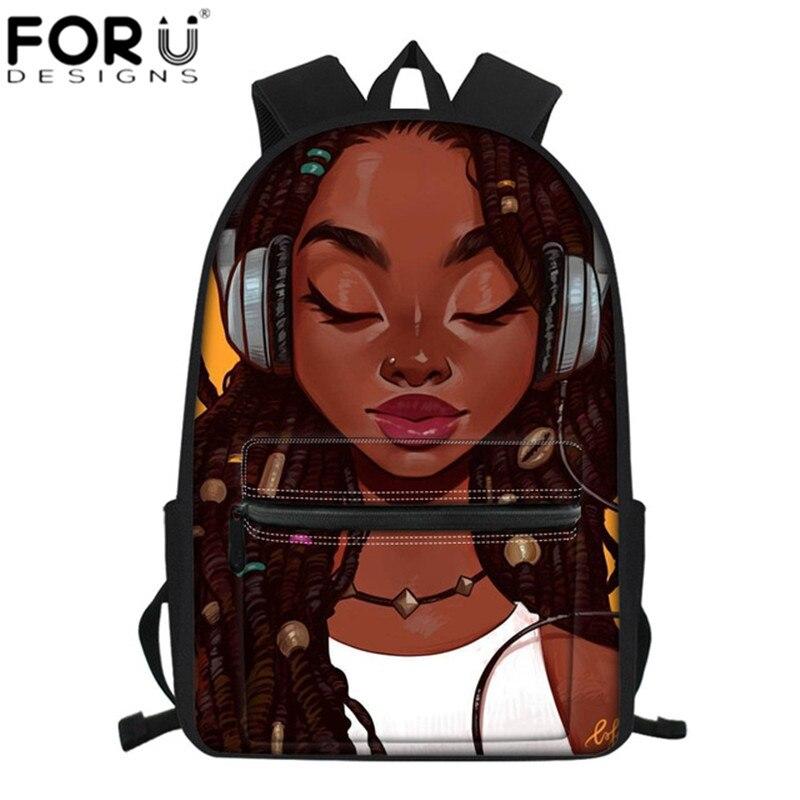 African Art Girls Backpack School Bags Women Messenger Pencil Laptop Rucksack