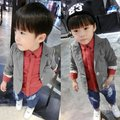Boys Cotton Suit Gentleman Blazer Kids One Button Fall Jacket Coat Outerwear