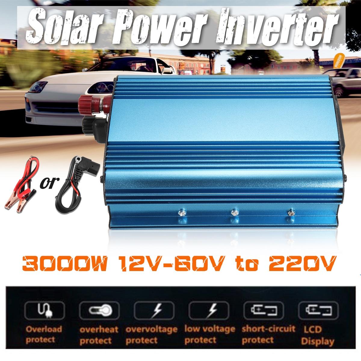цена на 3000W Solar Power Inverter 12V/24V/48V/60V To 220V DC-AC Car Inverter Sine Wave Solar Convertor Voltage Transformer