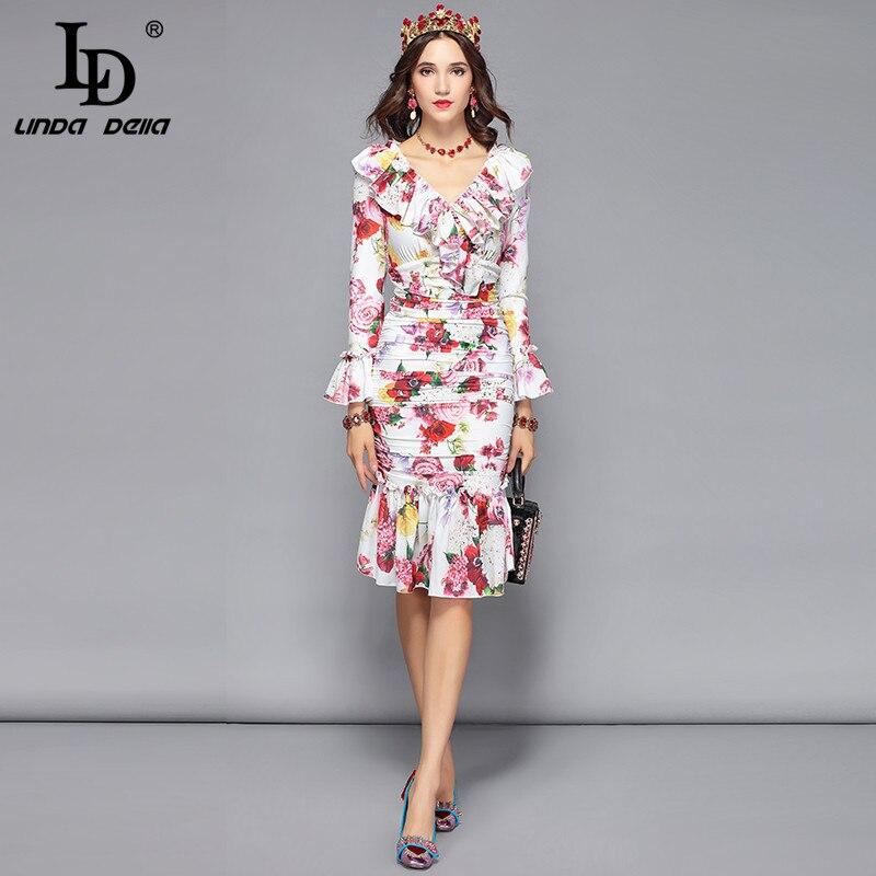 Vestido de verano de diseñador a la moda con estampado Floral rosa con cuello en V para mujer-in Vestidos from Ropa de mujer    3