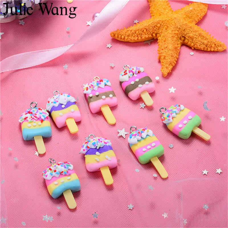 Julie Wang 10PCS Polymer Clay Ice Cream Food Handmade Colorful Charm Pendants Phone Decoration Findings Jewelry Making Accessory