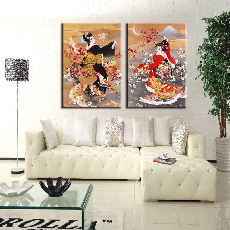 Marcos Cerezo japonés pared pintura flor lienzo pintura decoración ...