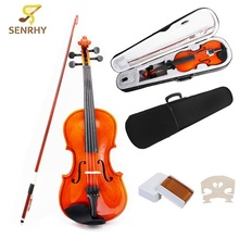 4/4 Full Size Stringed Instrument Natural Acoustic Wood Violin Fiddle with Case Bow Original Rosin For Music Lovers Beginners