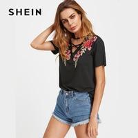 SHEIN Crisscross V Neck Rose Patch Tee Summer Fashion Tee Shirt Women Loose Black V Neck