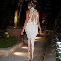 Seamyla 2018 Women Bandage Dresses Luxury Pearl Chain Embellished Sexy Celebrity Party Maxi Dress Sleeveless Long Dress Vestidos