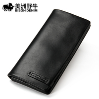 Brand BISON DENIM Men Wallet Genuine Leather Large Capacity Cowhide Purse Credit Card Wallet Men S