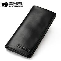 Brand BISON DENIM Men Wallet Genuine Leather Large Capacity Cowhide Purse Credit Card Wallet Men S