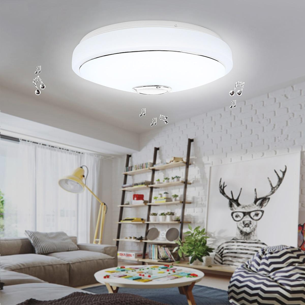 220V Modern Round LED Ceiling Light Bluetooth Speaker Music 24W RGB Ceiling Lamp for Living Room Bedroom Acrylic Lighting цена