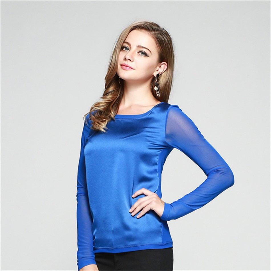 2015 Real Silk Made Big Size S-XXL Women T-shirt Top Tees Casual Women T shirt Large Size Tshirt Cropped Tops For Women (4)