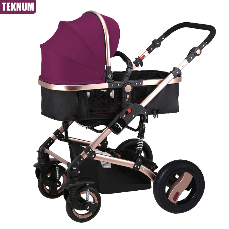 Hk Teknum 2-in-1 stroller high landscape baby trolley can sit can lie BB carriage folding four seasons general trolley child car цена 2016