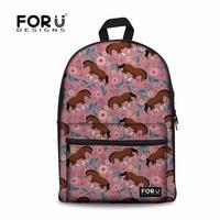 FORUDESIGNS Women Horse Printing Bags Backpack Female Fashion School Backpacks for Teen Girls Shoulder Bag Feminine Sac A Dos